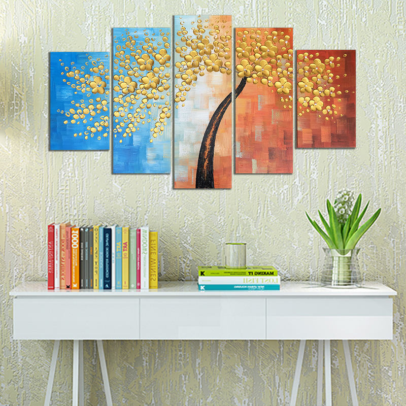 Modern Art Abstract Money Tree Knife Oil Painting On Canvas