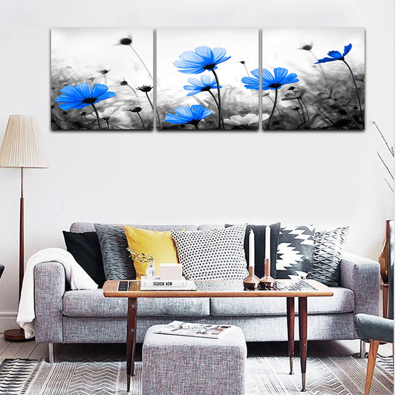 Royal Blue Flower Wall Art Prints on Canvas