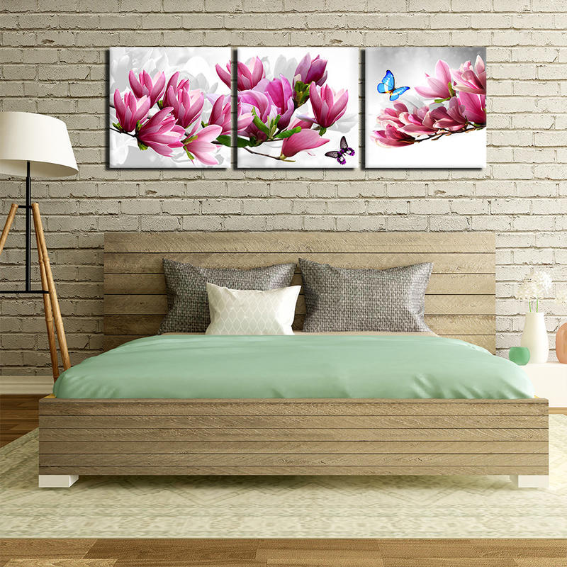 Beautiful Pink Flower Landscape Canvas Painting