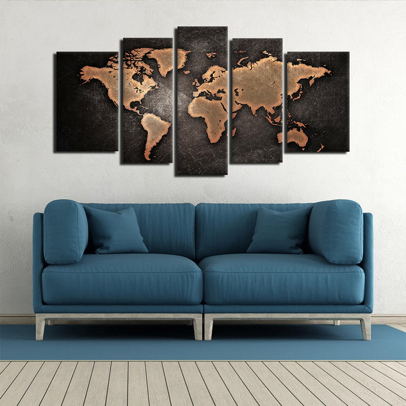 Modern Art Painting World Map Canvas Prints for Home Decor