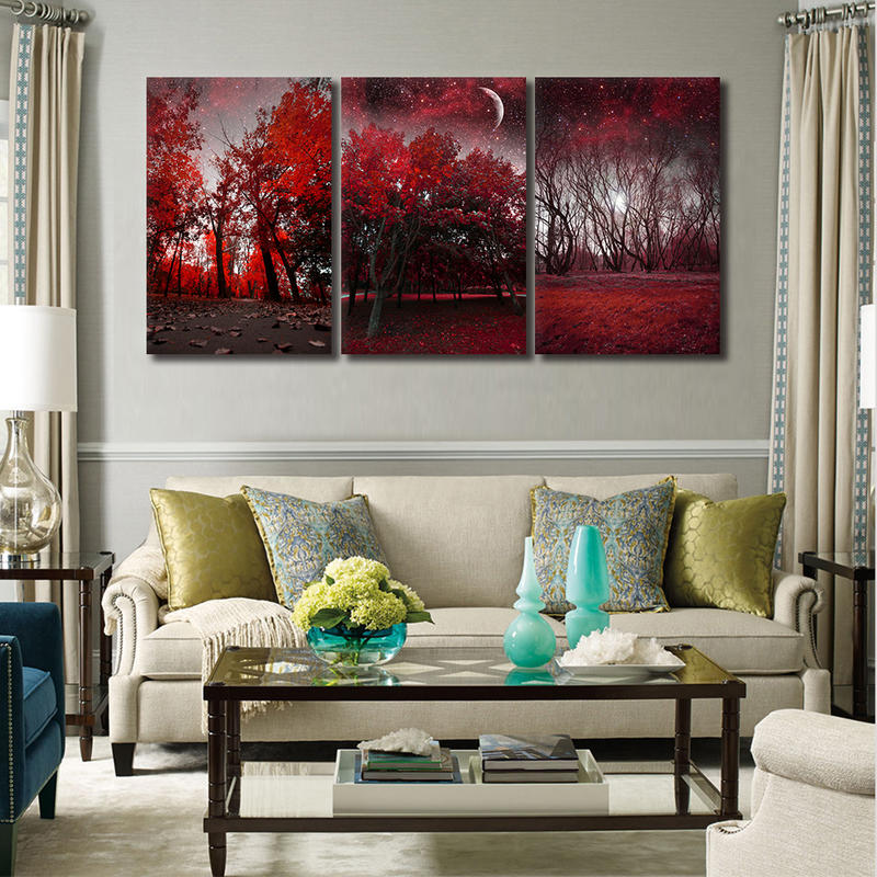 Red Forest Canvas Prints Wall Art 3 Panel