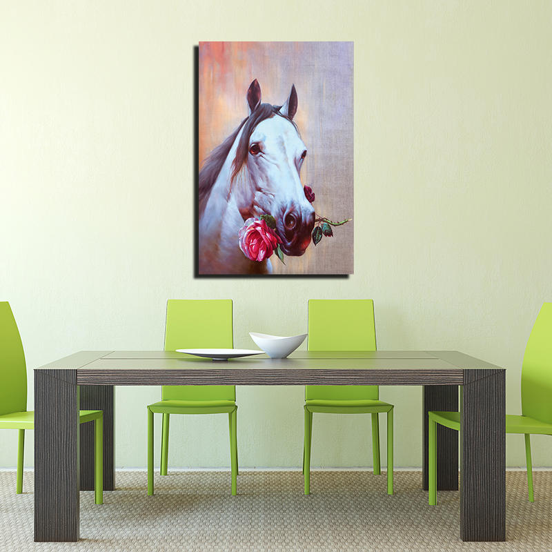 Animal Framed Wall Art Horse Oil Painting on Canvas