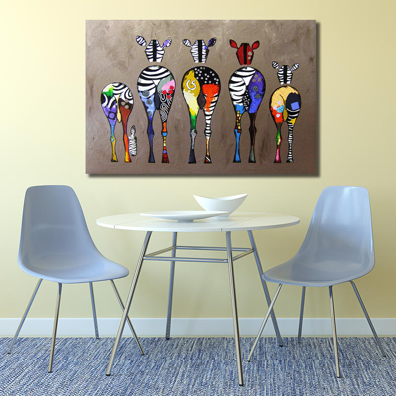 Zebra Back Canvas Painting Wall Art Home Decor