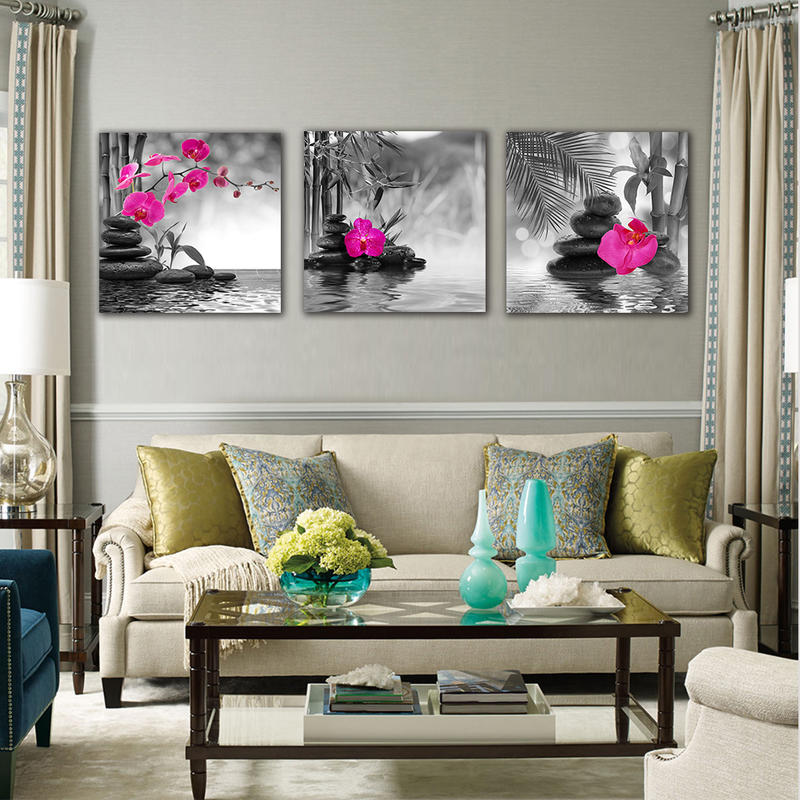 3 Panel Black and Whie Framed Wall Art Flower Painting Print on Canvas