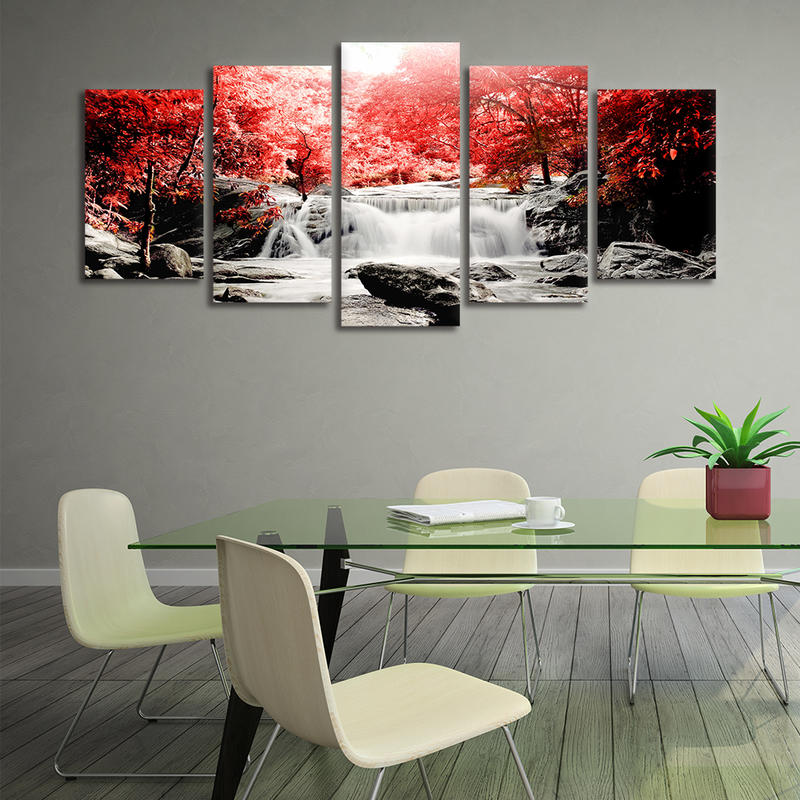 5 Panel Framed Wall Art Red Forest Waterfall Painting On Canvas