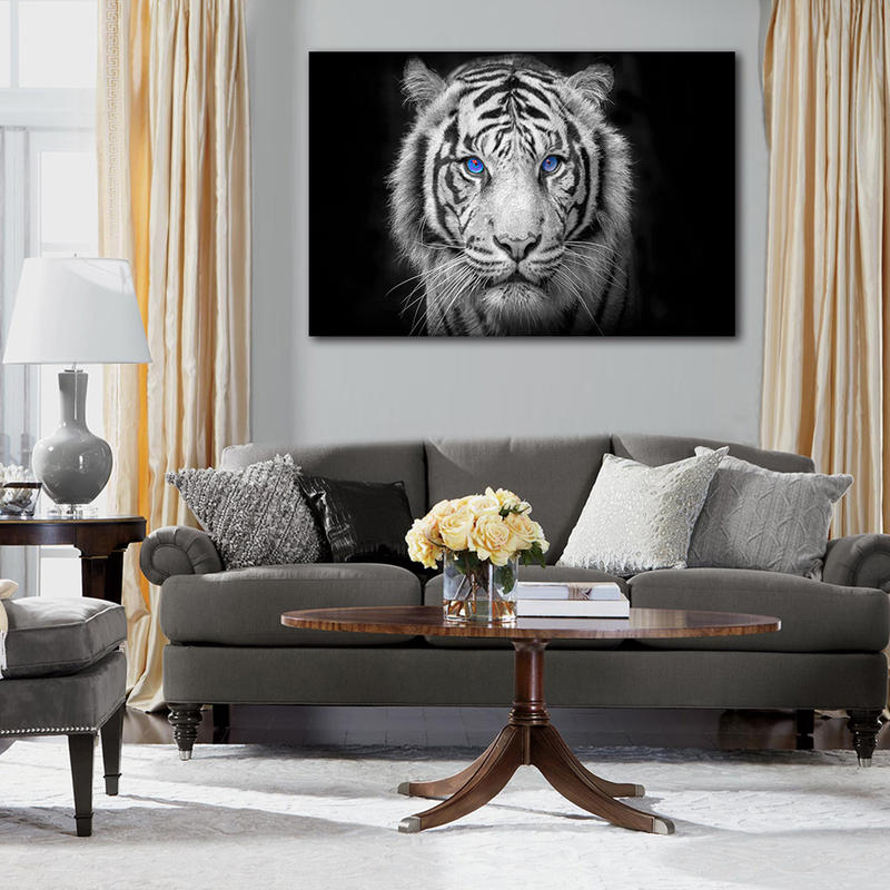Framed Black and White Wall Art Tiger Canvas Prints Aniaml Pianting