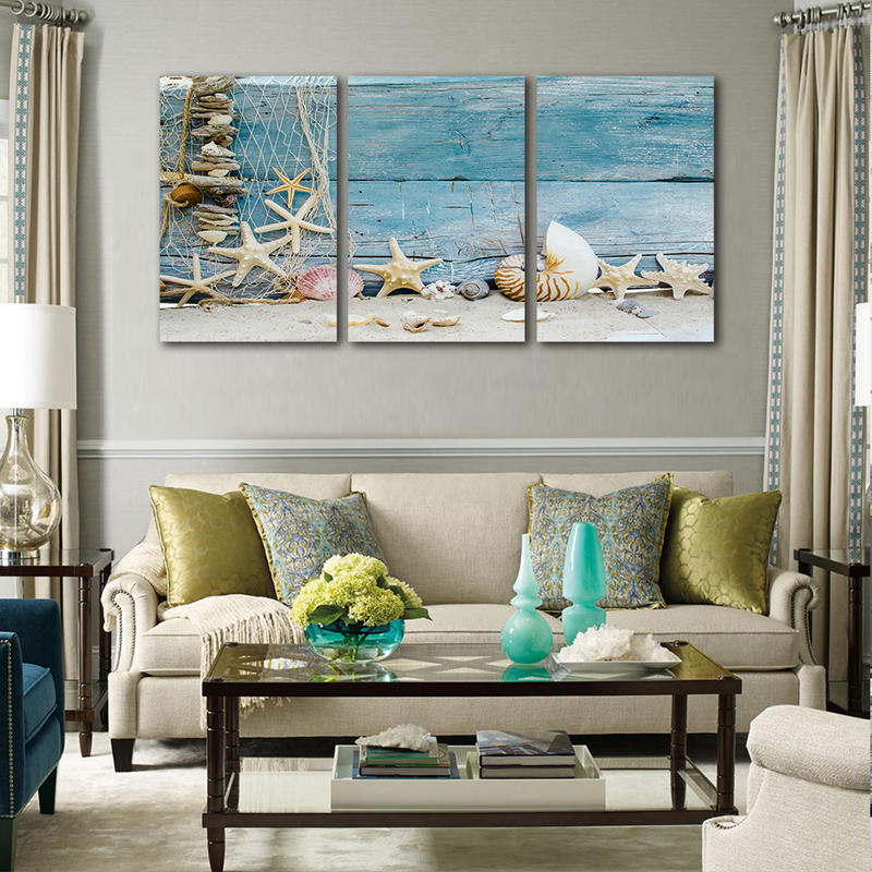 3 Panels Framed Wall Art Seashell Landscape Canvas Prints Painting