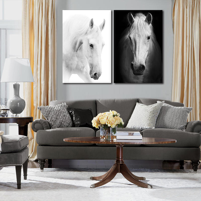 2 Panel Framed Wall Art White Horse Canvas Prints Animal Painting Artwork