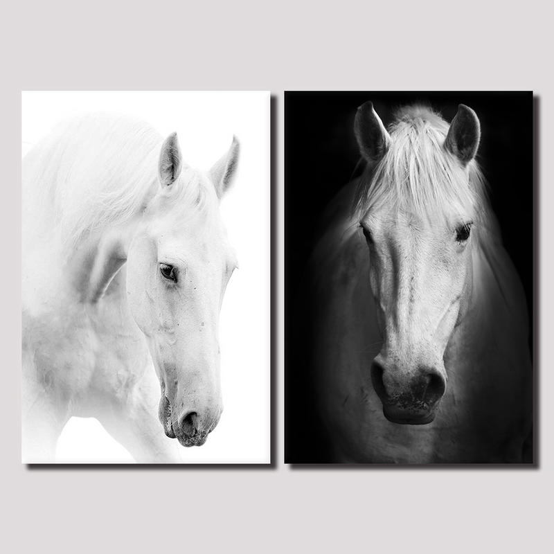 2 Panel Framed Wall Art White Horse Canvas Prints Animal Painting ...