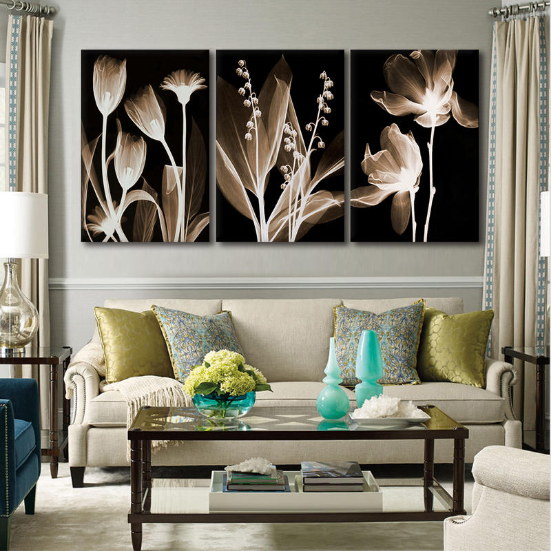 3 Pieces Nordic Modular Black And White Flower Canvas Prints Pianting