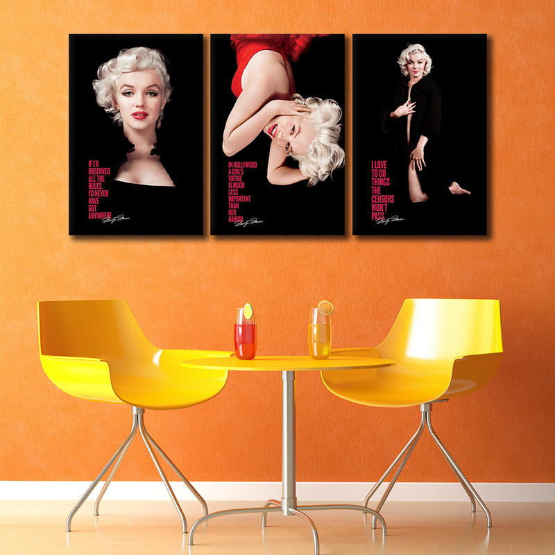 3 Pieces Modern Home Decor Marilyn Monroe Canvas Painting