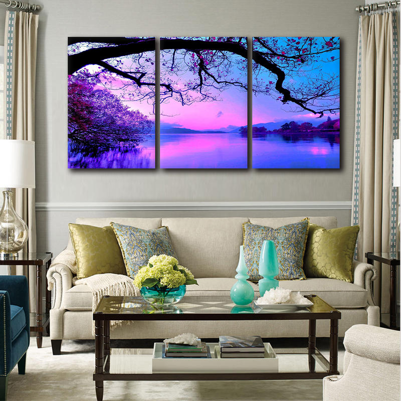 3 Panels Purple Modular Pictures Canvas Prints Painting Wall Art