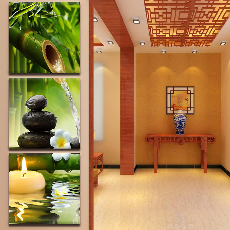 Modern Orchid Zen Spa Stone Bamboo Candle Canvas Painting