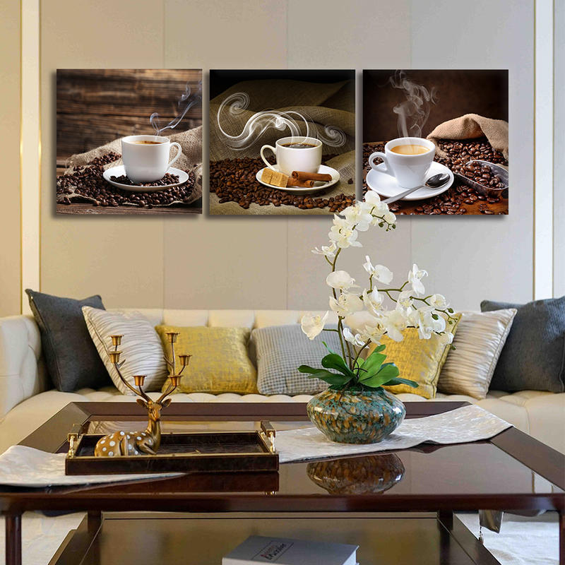 3 Panel Framed Wall Art Coffee Cup Canvas Prints Painting