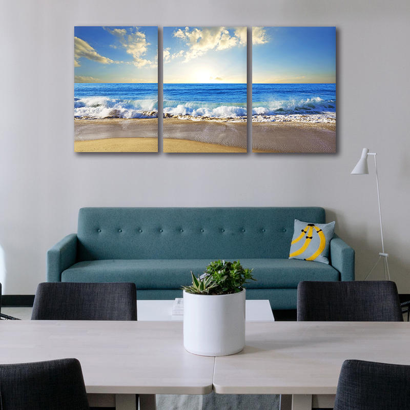 3 Panels Framed Wall Art Beach Canvas Painting Home Decor