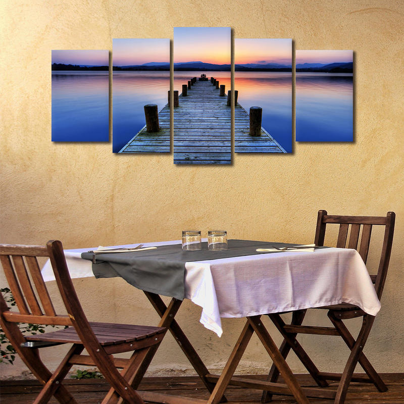 5 Panels Framed Wall Art Seascape Printed on Canvas
