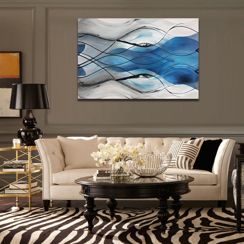 Abstract Blue Canvas Wall Art Modern Living Room Decor