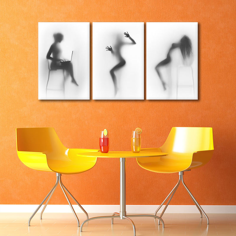 Framed Canvas Prints Wall Art 3 Panels Sexy Girl Abstract Painting Home Decor