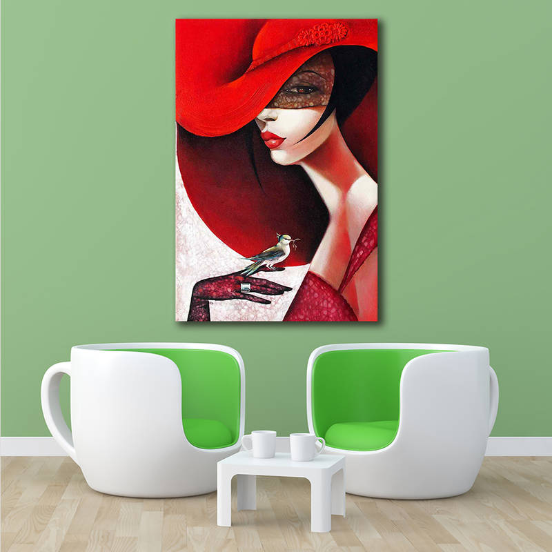 Modern Fashion Lady in Red Hat Canvas Painting Home Decor