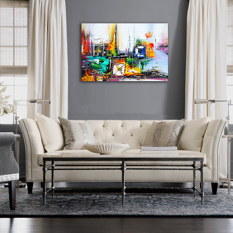 Abstract Palette Knife Oil Painting Colorful Pictures for Home Decor