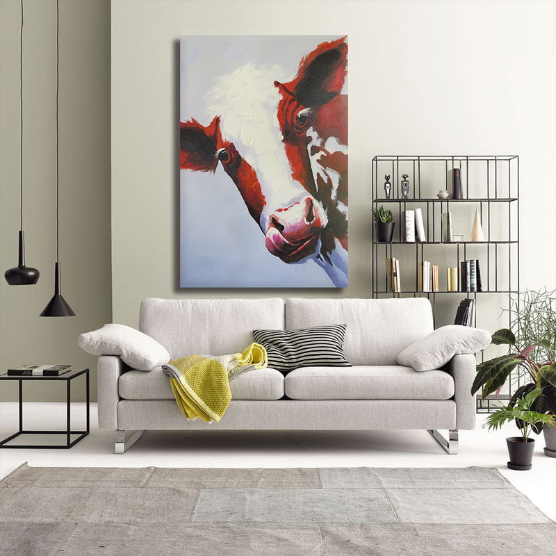Animal Canvas Wall Art,Cow Painting for Wall Art