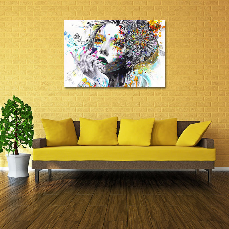 Colorful Abstract Girl Canvas Wall Art