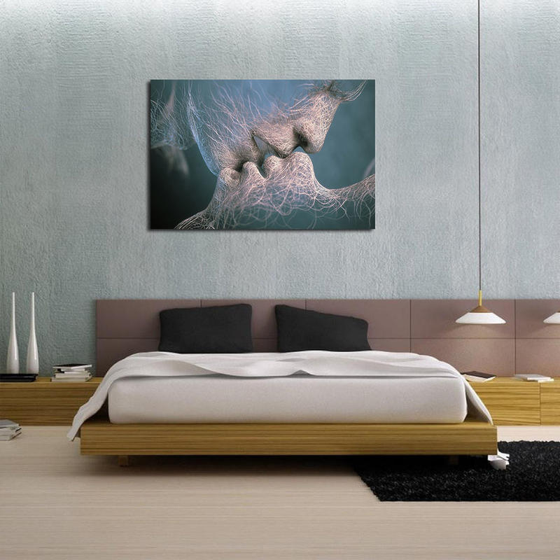 Abstract Kiss Lover Canvas Prints Wall Decor