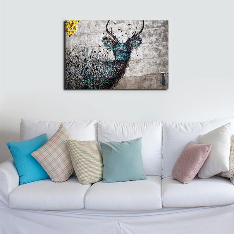 Abstract Deer Canvas Prints for Home Decor