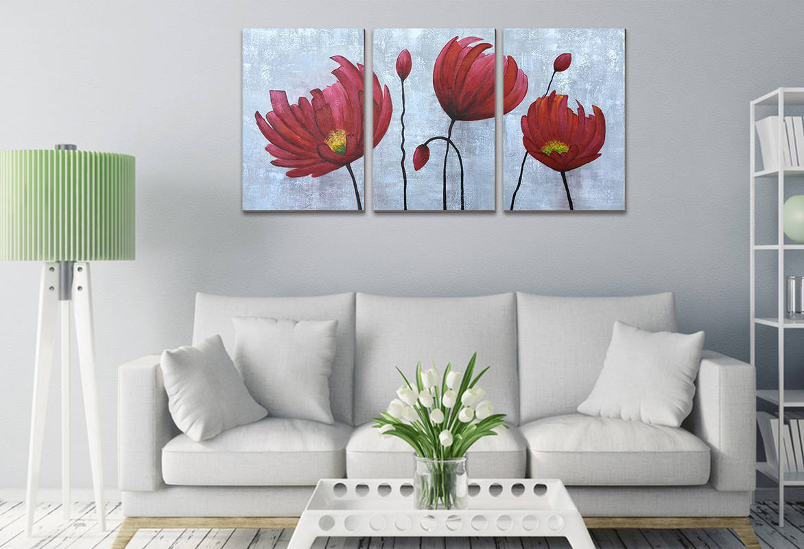 Hand Painted Red Flowers Wall Art for Bedroom