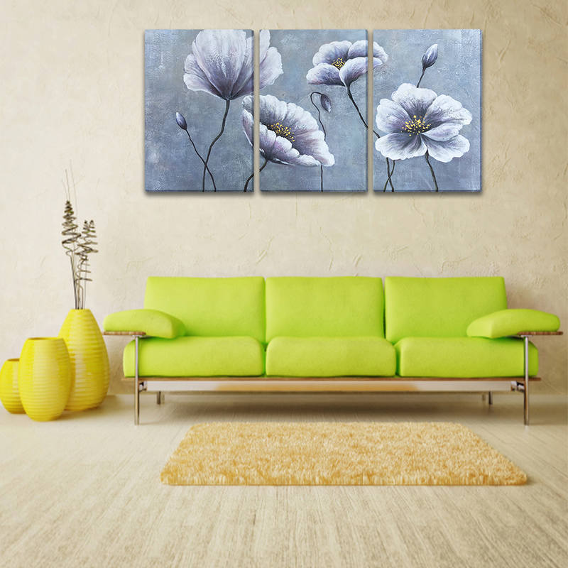 Hand Painted Purple Flowers Wall Art for Home Decor