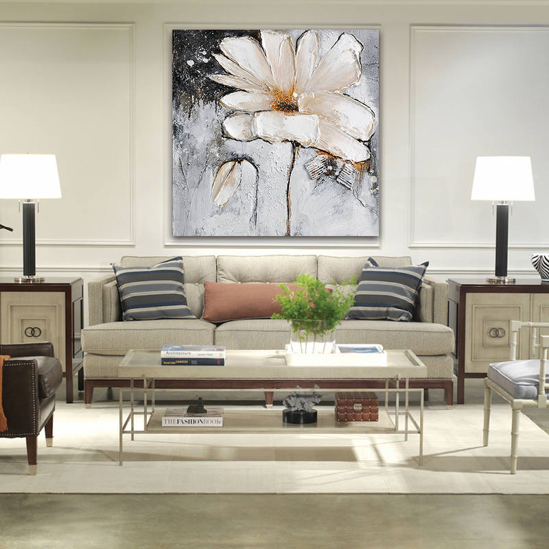 White Flowers Oil Painting for Home Decor