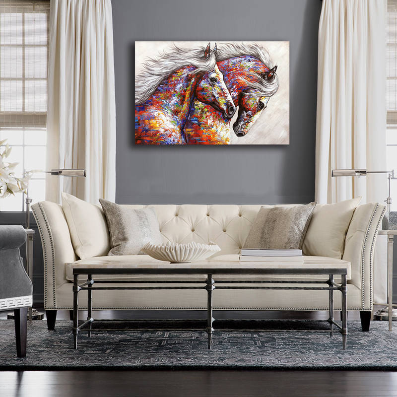 Colorful Running Horses Canvas Prints for Wall Art