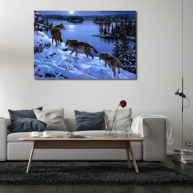 Wild Life Wall Art,Wolf Paintings for Home Decor
