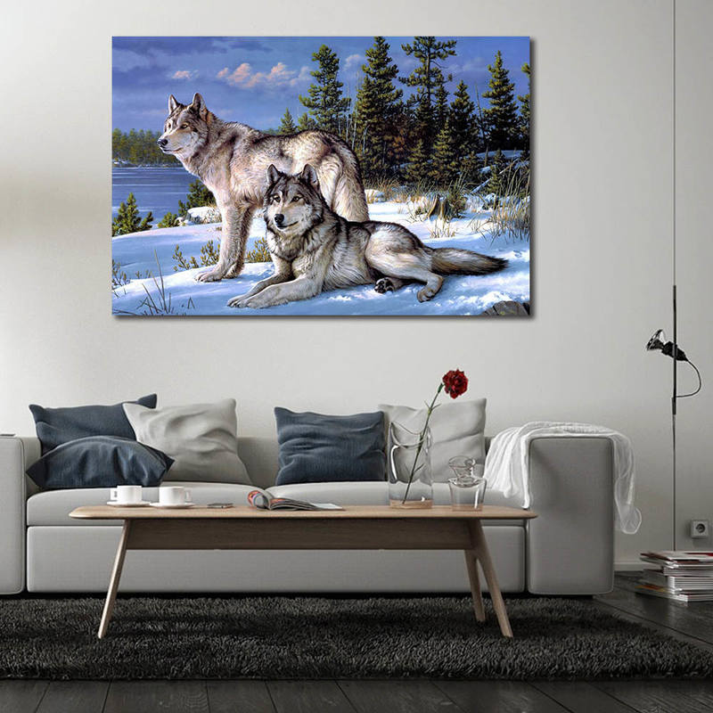 Wild Life Wall Art,Wolf Print Paintings for Home Decoration