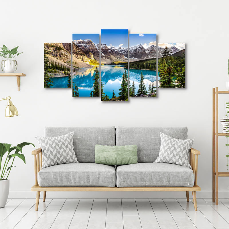 Moraine Lake And Mountain Landscape Wall Art