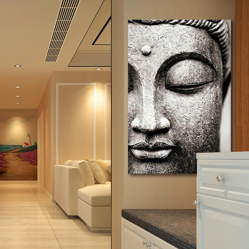 Buddha Statue Portrait Canvas Art Painting Print Posters