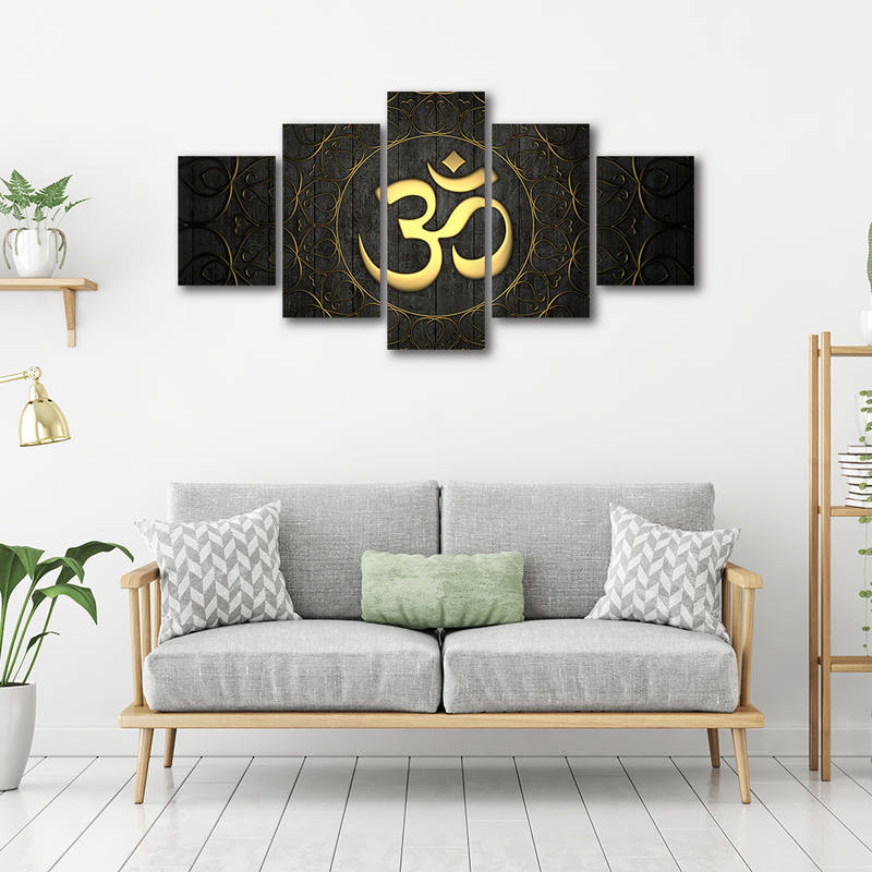 5 Pieces Buddha OM Yoga Poster HD Print Golden Symbol Abstract Pictures