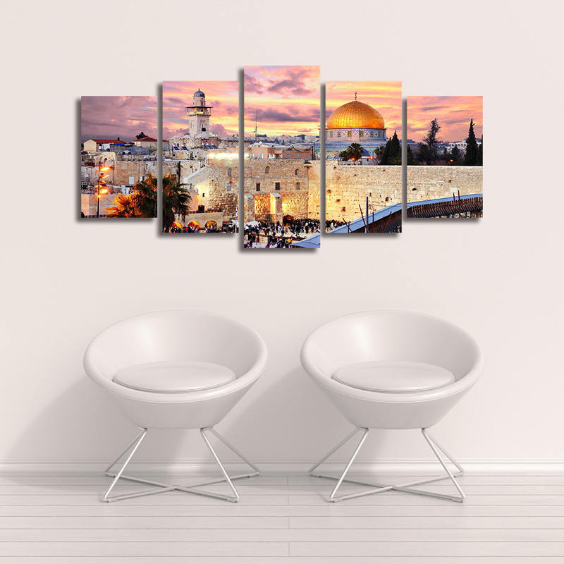 5 Panel Muslim Frame Modern Wall Art Islam Pictures For Living Room