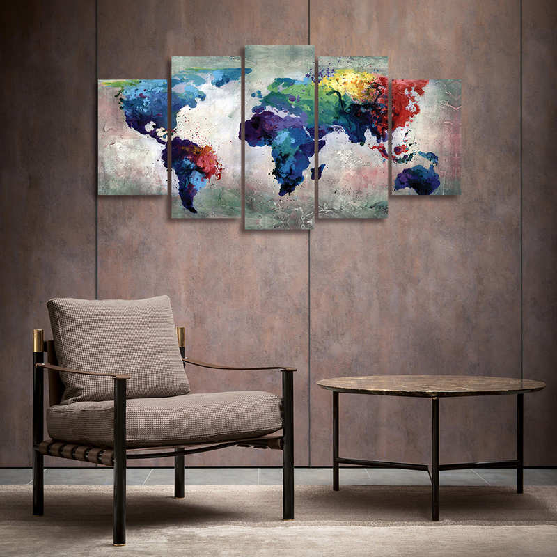 5 Pieces Watercolor World Map Canvas Prints Wall Art