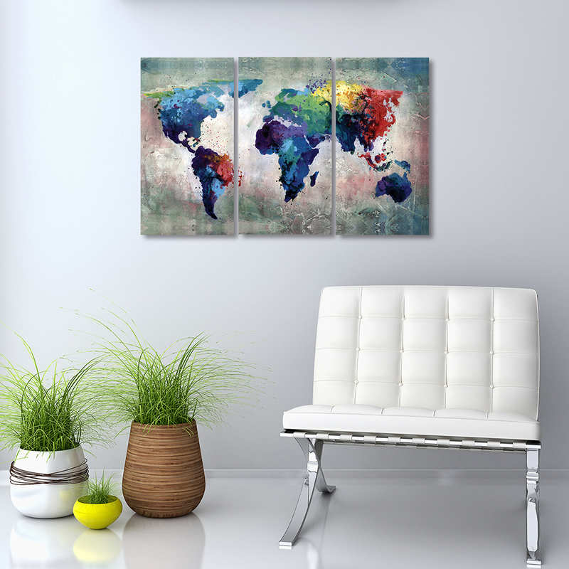 Watercolor Blue World Map Wall Decor Art 3 Panels