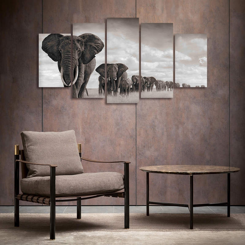 Elephant Canvas Prints Wall Art 5 Panels Animal Painting