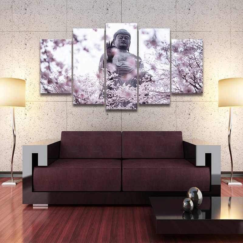 Buddha Canvas Decor Wall Art Framed 5 Panels